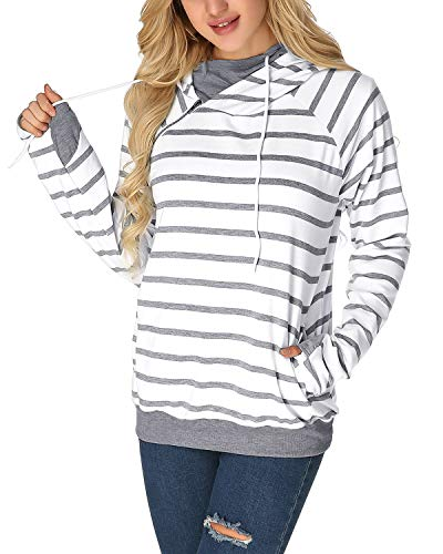 StyleDome Striped Funnel Cowl Neck Hoodie Double Hooded Ampersand Sweatshirt Thumb Hole Sweater for Women Grey L