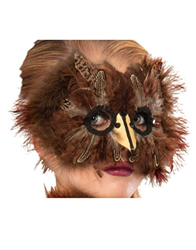 (Forum Novelties Unisex-Adult's Exotic Feather Mask, brown)