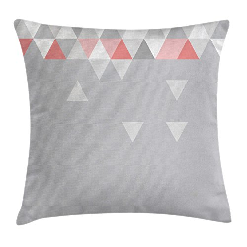 Abstract Throw Pillow Cushion Cover by Ambesonne, Geometric Triangles Polygonal Style Modern Symmetric Forms Art Pattern, Decorative Square Accent Pillow Case, 24 X 24 Inches, Grey Coral Light - Coral Grey