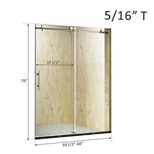 "Generic MDB-US9...4483..8....Stainless Steel Hardware ess S Sliding Bath h Showe 0.3"" Glass Frameless ramel Shower Door 3"" Glas NV_1008004483-MJT-US55"