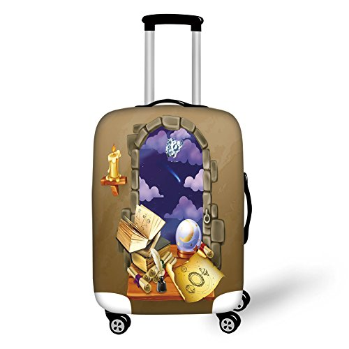 Travel Luggage Cover Suitcase Protector,Astrology,Medieval Ancient Castle Window with Crystal Ball Clouds Parchment Decorative,Teal Grey White and Purple,for Travel