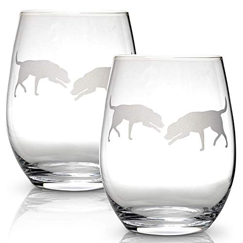 Labrador Retriever Stemless Wine Glasses (Set of 2) | Unique Gift for Dog Lovers | Hand Etched with Breed Name on Bottom