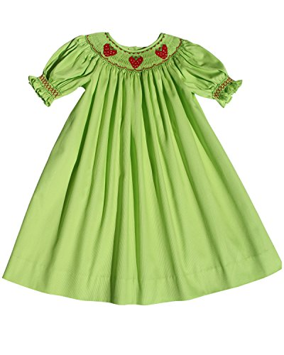Carouselwear Hand Smocked Strawberry Girls Bishop Dress In Green Cotton For Fall