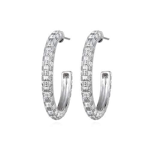 Ariva Sterling Silver Basketweave Hoop Earrings