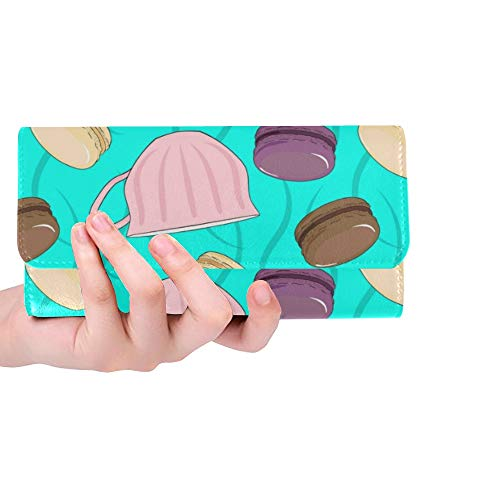 Unique Custom Macaron Color Girl Color Sweet Women Trifold Wallet Long Purse Credit Card Holder Case Handbag ()