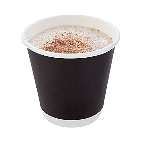 500-CT Disposable Black 8-oz Hot Beverage Cups with Double Wall Design: No Need for Sleeves - Perfect for Cafes - Eco Friendly Recyclable Paper - Insulated - Wholesale Takeout Coffee - 8 Ounce Cafe Mug
