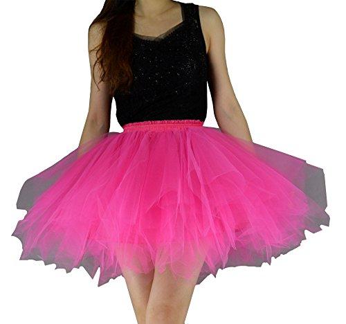 (YSJERA Women's Tutu Tulle Mini A-Line Petticoat Prom Party Cosplay Skirt Fun Skirts (M, Hot)