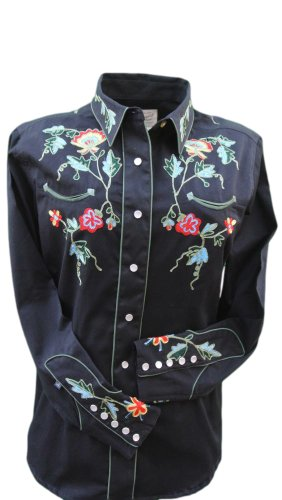 - Rockmount Women's Vintage Western Shirt with Floral Embroidery, X-Large, Black