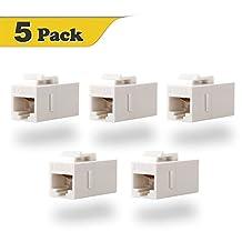 VCE (5 PACK) UTP CAT6/CAT5/CAT5e Keystone Coupler, RJ45 Female to Female Insert Coupler, 8P8C Network Keystone inline Jack (White)