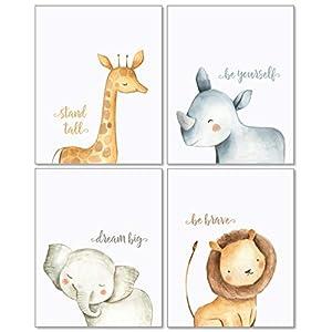 Confetti Fox Safari Baby Animals Nursery Wall Art Decor – 8×10 Unframed Set of 4 Prints – Boy Girl Kids Watercolor Quotes Bedroom Bathroom Decorations – Giraffe Rhino Elephant Lion