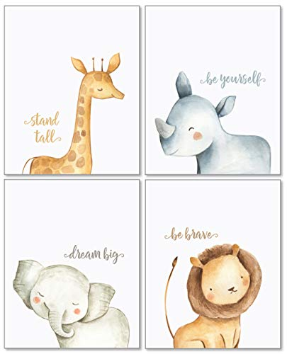 Confetti Fox Safari Baby Animals Nursery Wall Art Decor - 8x10 Unframed Set of 4 Prints - Boy Girl Kids Watercolor Quotes Bedroom Bathroom Decorations - Giraffe Rhino Elephant Lion ()