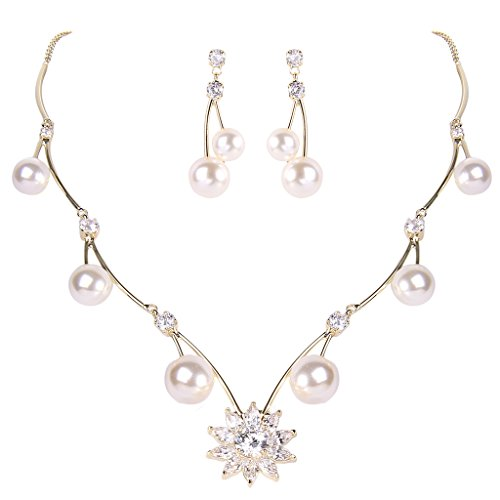 EleQueen Women's Cubic Zirconia Simulated Pearl Sunflower Bridal Necklace Earrings Jewelry Set Ivory Color Gold-Tone