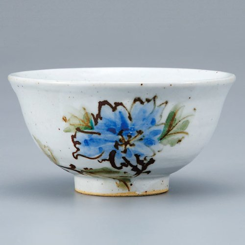 Japanese Rice Bowl Blue Flower KUTANI YAKI(ware) by Kutani