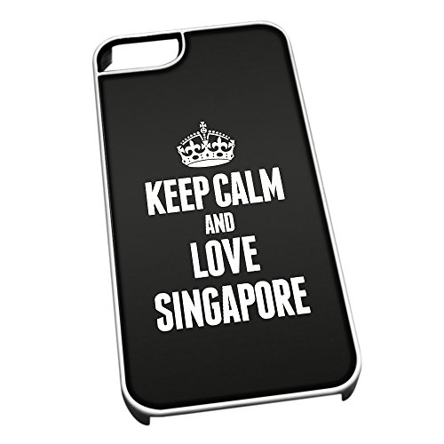 Bianco cover per iPhone 5/5S 2373nero Keep Calm and Love Singapore