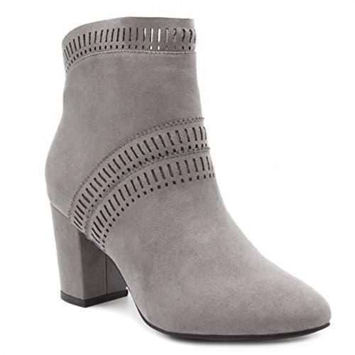 LONDON FOG Womens Iverna Heeled Perf Ankle Booties Grey 6.5 by London Fog