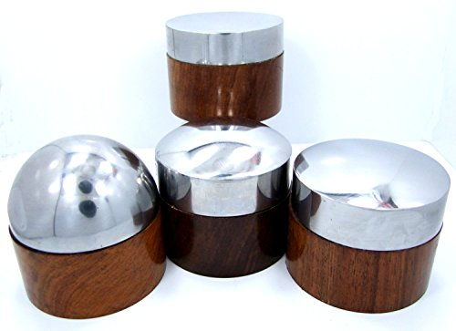 Set Of 4 Domed Steel And Wood Bench Anvils For Forming And Shaping