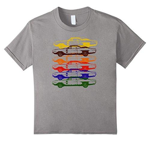 Kids Vintage Race Car Repeat Stacked Trending Shirt 6 Slate