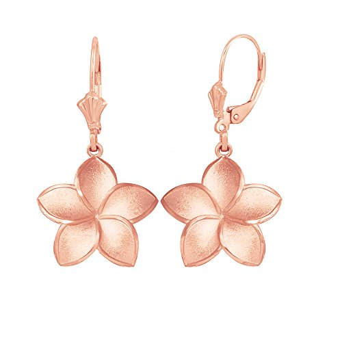 Matte Finish 14k Rose Gold Hawaiian Flower Plumeria Dangle Earrings (Medium) (Hawaiian Plumeria Flower Ring)