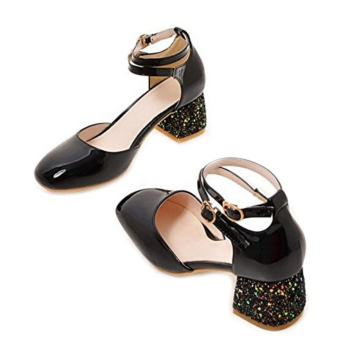 SJJH Large Size Women Court Shoes with Rounded Toe and Bling Chunky Heel for Dancing Parties Black FhSMFfKviO