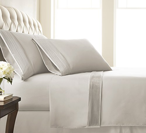 Southshore Fine Linens - Vilano Springs - 4 Piece - Extra Deep Pocket Pleated Sheet Set, Queen, Bone