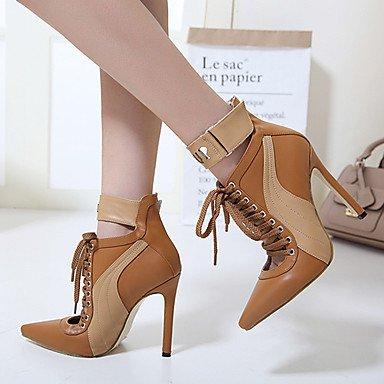Heart&M Mujer Zapatos Semicuero Primavera Otoño Invierno Confort Innovador Pump Básico Botas Tacón Stiletto Con Para Boda Casual Vestido Fiesta y brown