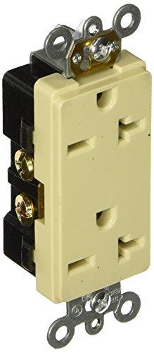 Morris 82220 Industrial Grade Decorative Duplex Receptacle, 20 Amp Current, 250V, Ivory - Decorative Duplex Receptacle
