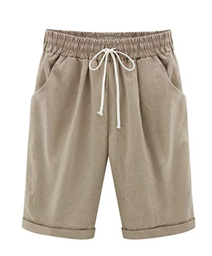 Vcansion Women's Casual Elastic Waist Knee Length Bermuda Shorts with Drawstring Khaki Asian 2XL/US - Pleated : Women Shorts Khaki
