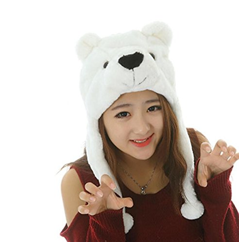 Dalino Creative Cute Cartoon Performance Headwear Plush Animal Headgear (Polar Bear) by Dalino