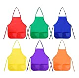 Numblartd Pack of 6 Children Painting Aprons Art Smocks with 2 Roomy pockets - Assortted Colour Kids Artist Paint Smock Aprons for Painting Classroom Baking School Home and Kitchen