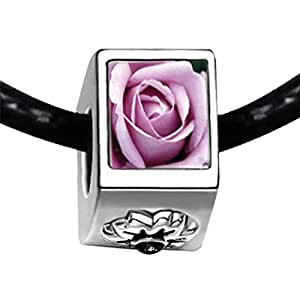 Chicforest Silver Plated Blooming Rose Photo Black Crystal Flower Charm Beads Fits Pandora Charm Bracelet