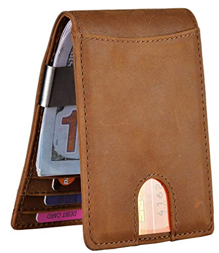 Mens Leather Covered Money Clip - Easyoulife Men's RFID Slim Front Pocket Wallet with Money Clip Genuine Leather (A Crazy Horse Brown)