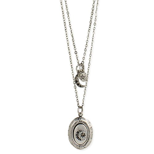 Zen Styles Celestial Design Layered Necklace with Silver Tone Locket - Vintage Necklace 16