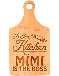 Gain Mother's Day Gift for Grandma In This Kitchen Mimi is the Boss Paddle Shaped Bamboo Cutting Board lowestprice