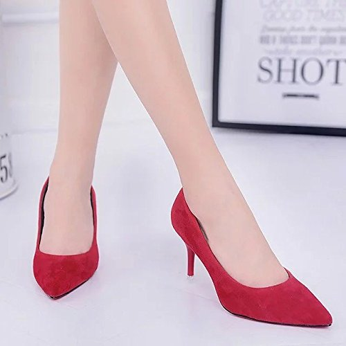 satin shoes Qiqi black Xue painted shoes lady leather with women heeled tip Red sweet work a fine shoes satin High 8zw0zdq