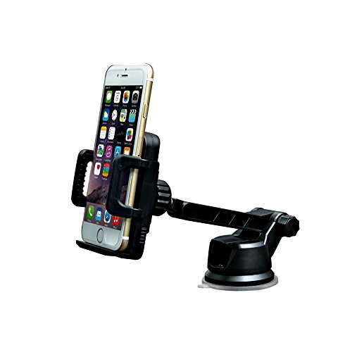 Dashboard & Windshield Car Phone Mount Holder - iPhone 7/6s/6, Galaxy S8/S7. Adjustable Arm, Rotates 360°. Cradle & Secure Mobile Cell Phones: Android, Blackberry, Google Nexus, Smartphones & GPS
