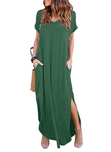 (Women's Summer Maxi Dress Casual Loose Pockets Long Dress Short Sleeve Split)