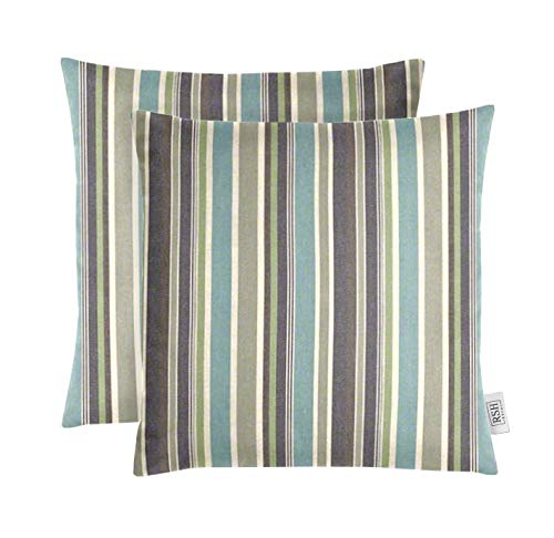 RSH Décor Set of 2 Indoor Outdoor Decorative Square Throw Pillows Made of Sunbrella Brannon Whisper (20