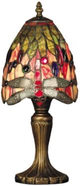 Dale Tiffany TT101287 Vickers Tiffany Table Lamp, Antique Brass and Art Glass Shade