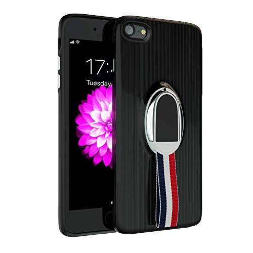 iPhone 7 Case   iPhone 8 Case   Kickstand and Finger Rope   Hard Back & Soft TPU Bumper   Shockproof   Compatible with iPhone 7 Case/iPhone 8 Case -Black ()