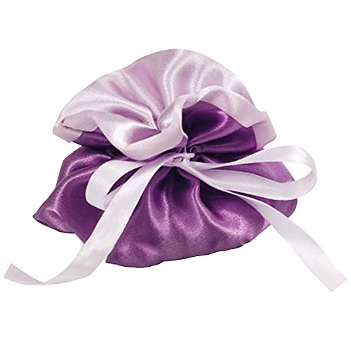 (autulet Exquisite Purple Satin Drawstring Bags Satin Gift Bags Two-Tone Color Nice Wedding Favor Bags 10Pieces)