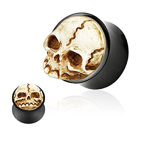 Pair of 3D Skull Hand Carved Organic Buffalo Horn Double Flared Ear Plugs Gauges - Sold As Pair (14mm - 9/16