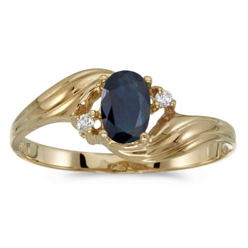 Yellow Sapphire Antique - 0.41 Carat ctw 10k Gold Oval Blue Sapphire & Diamond Bypass Swirl Cocktail Anniversary Fasion Ring - Yellow-gold, Size 5.5