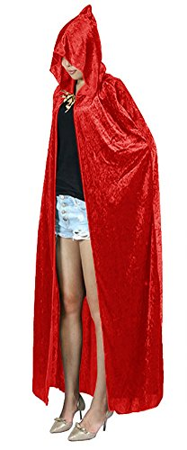 Urban CoCo Women's Costume Full Length Crushed Velvet Hooded Cape (red)]()