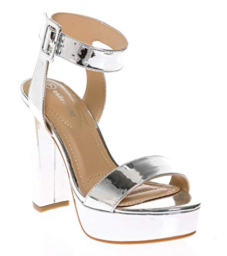 CALICO KIKI Women's Shoes Buckle Ankle Strap Open Toe Chunky High Heel Platform Dress Sandals (8.5 US, Silver_MET)