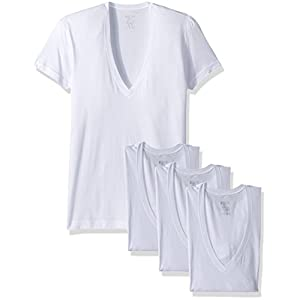 2(X)IST Men's Cotton Slim Fit Deep V Neck T Shirt Multipack