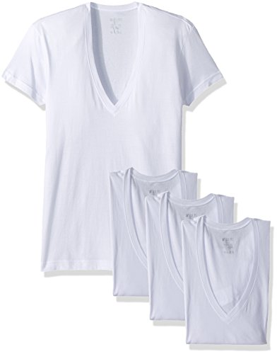 2(X)IST Men's Essential Slim Fit Deep V Neck T-Shirts - 3 Pack (020351) Underwear, White Natural, ()