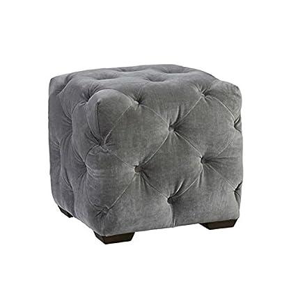 Astonishing Amazon Com Beaumont Lane Velvet Tufted Cube Ottoman In Gray Andrewgaddart Wooden Chair Designs For Living Room Andrewgaddartcom