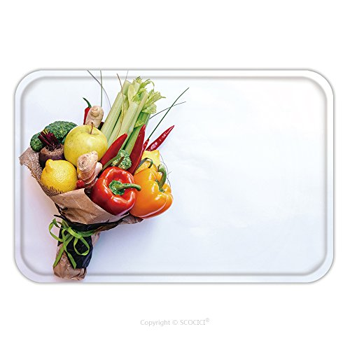 Flannel Microfiber Non-slip Rubber Backing Soft Absorbent Doormat Mat Rug Carpet The Original Unusual Edible Bouquet Of Vegetables And Fruits On White With Copy Space 645825379 for Indoor/Outdoor/Bath