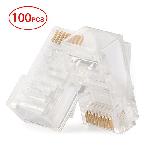 Postta RJ45 CAT5 CAT5E CAT6 Connector 8P8C UTP Gold Plated Ethernet Crystal Head 100 Pieces ()