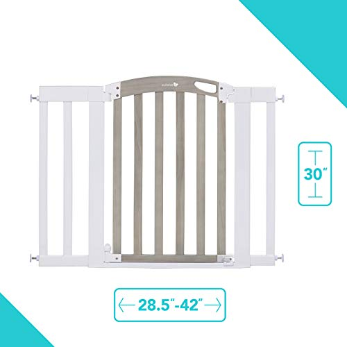 """Summer Chatham Post Safety Baby Gate, Gray Wood Wash Finish and Matte White Metal Frame – 30"""" Tall, Fits Openings up to 28.5"""" to 42"""" Wide, Baby and Pet Gate for Doorways and Stairways"""